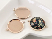 10pcs 20mm Inner Size Rose Gold Plated Classic Style Brass Metal Cabochon Base Setting Charms Pendant (D2-75)(China)