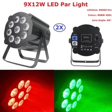 2Pcs/Lot Led Par Lights 9X12W RGBW 4IN1 Led Par Cans Strobe DMX Controller Party Dj Christmas Strobe Dimming Effect Projector