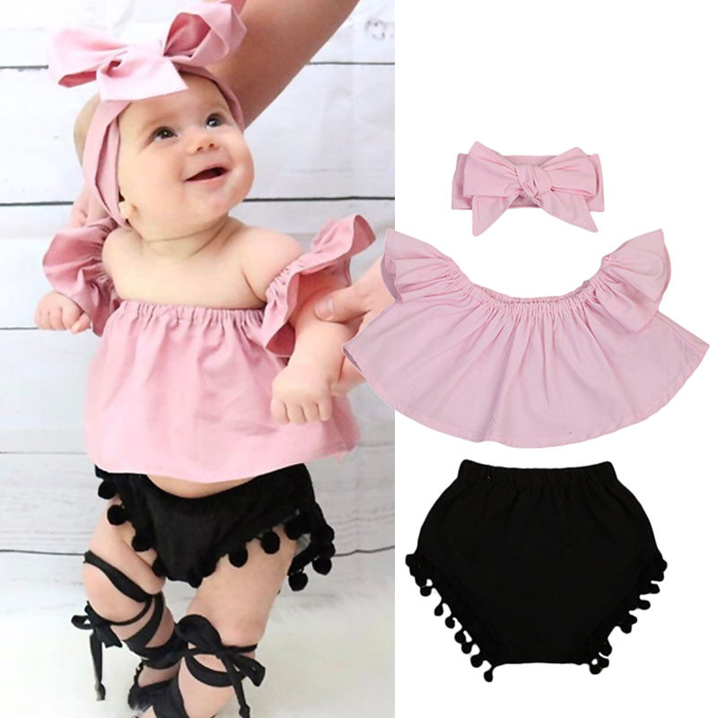 Infant Baby Girls Off Shoulder Floral Print Lace Tops+Shorts Bottom Summer Outfits Set