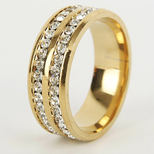 ZHEFANKU Hot Jewelry Stainless Steel Double Rows Crystal Finger Mid Rings Titanium Rose Gold Wedding Rings For Women Men(China)