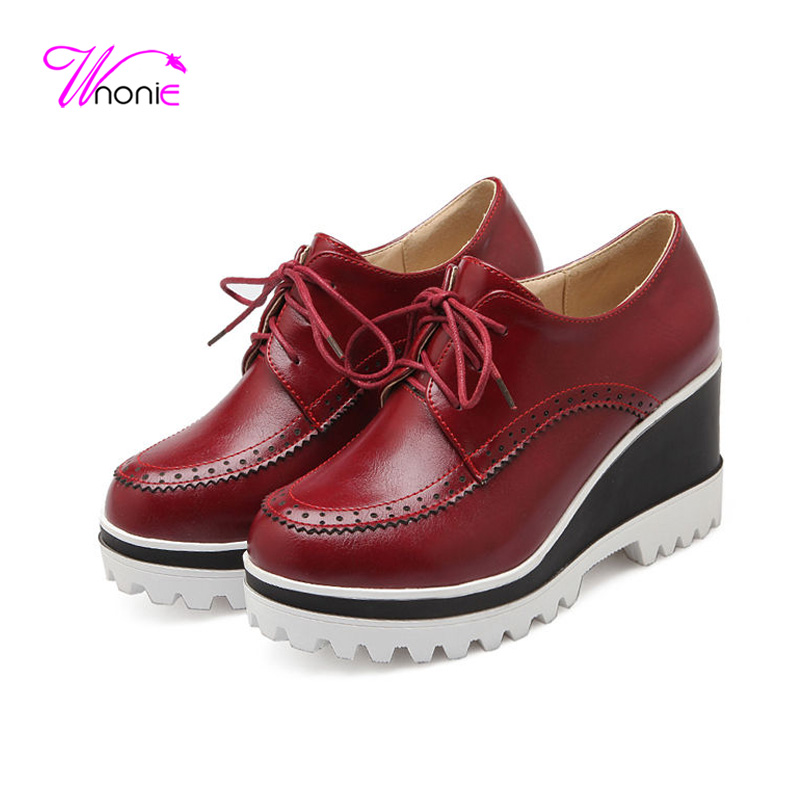 2017 Women Pumps Wedge High Heel Pumps Female Ladies Shoes Oxford Round Toe Platform Lace Up PU Leather Sexy Party Dress Office <br><br>Aliexpress