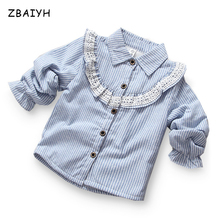 Children Lace Blouse Winter Tops Long Sleeve Flounces Comfortable Cotton Baby Girls Clothing Blue Stripe Kids Casual Plush Shirt