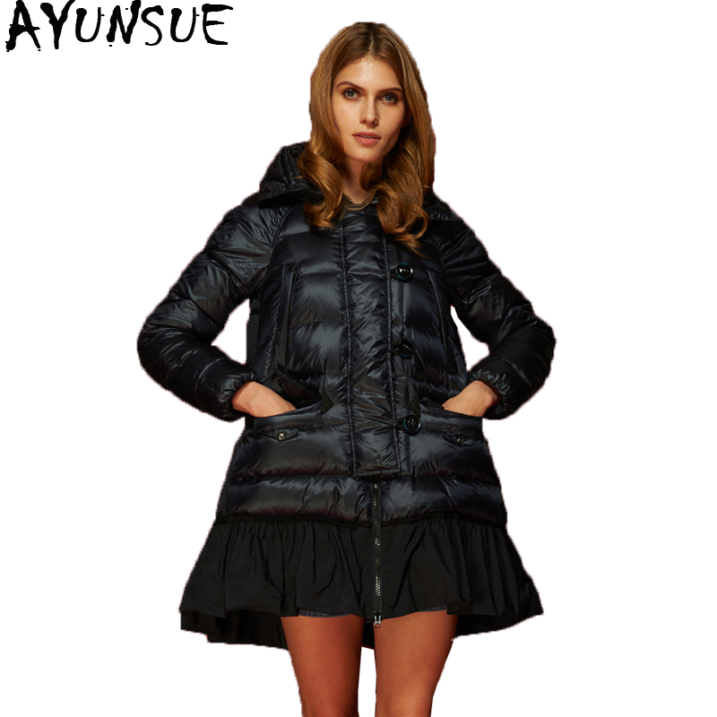 AYUNSUE Winter Coat Women Fashion Red Duck Down Jacket Woman Hooded Long A-Line Coats Female Jacket Parkas Mujer 2019 KJ602