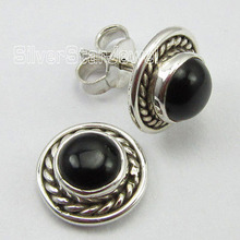 Low Price CABOCHON BLACK ONYX Jewel,  Pure Silver PRETTY Stud Earrings 1 CM