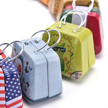 54*33*45mm Mini Tin Box Retro Suitcase Handbag Small Rectangular Candy Box Small Tin Container(China)