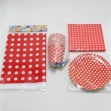 61pc\lot Birthday Party Decoration Red Polka Dots Tablecloth Paper Cups Kids Favors Plates Napkins  Baby Shower Tissues Supplies