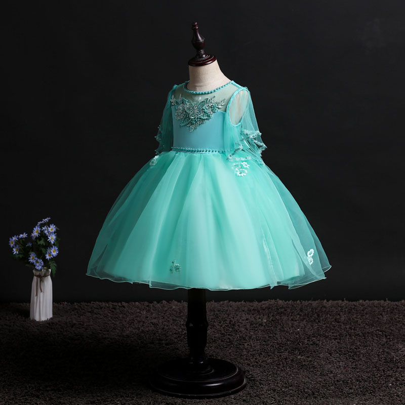 U-SWEAR 2019 New Arrival Kid Flower Girls O-neck Short Sleeve Flower Butterfly Appliqued Soft Chiffon Ball Gown Girls Dresses