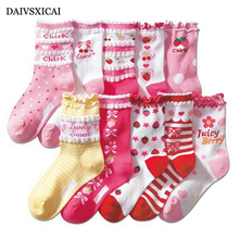 Daivsxicai  Lace Children Socks luscious Fashion Child Cute Socks Japanese Candy Color Cotton Socks Kids 5pairs/lot