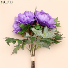 Wedding decoration artificial peony bouquet real touch rose flower bridal bouquet silk flower decorative flower Home Party Decor(China)