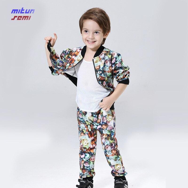 2017 autumn clothing set boys brand new boy suit jacket + pants Korean children printing suit children clothes set 4-6-8 age kid<br><br>Aliexpress