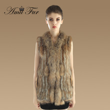 2016 New Genuine Knitted Rabbit Fur Vest With Raccoon Fur Collar Women Long Natural Fur Gilet Fashion Women Fur Waistcoats