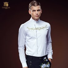 Free Shipping New fashion male Men's fanzhuan customized long sleeved Embroidery Shirt 612152 gentleman personality custom-made(China)