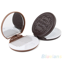 Dark Brown Cute Chocolate Cookie Shaped Design Makeup Mirror with 1 Comb Women Makeup Tool Pocket Mirror Home Office Use GYH(China)