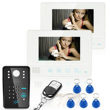 "Wired Touch Key 7"" Video Door Phone Intercom System RFID Keypad Code Number Doorbell Camera 2 Monitor 1000TVL Wireless Control"