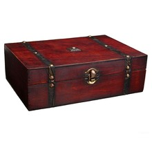 Euro Style Vintage Treasure Trinket Storage Box For Jewelry Pendant Gift Retro Wood Boxes Cases 23X16X7.5cm