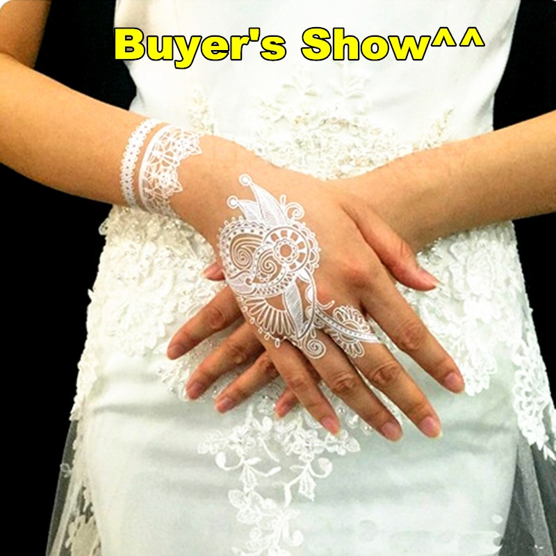 White Lace Stickers Water Transfer Temporary Tattoo Body Art Waterproof 3-5 Days 5