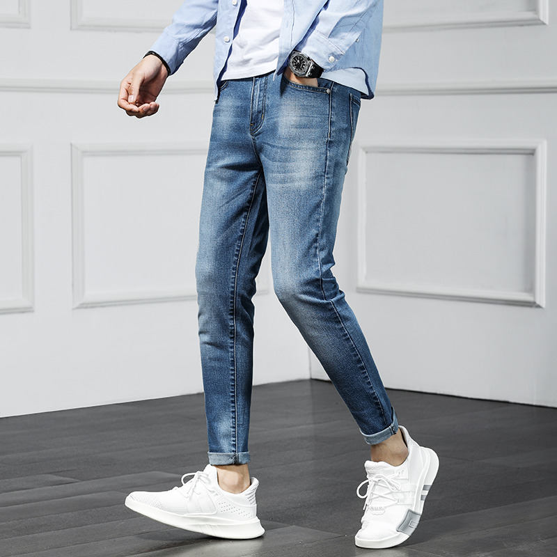 2019 spring and summer new Korean version of the trend of fashion personality casual wild light blue Slim feet nine points
