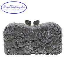 Silver Hard Box Clutch Metal Crystal Evening Bags and Purses for Matching Shoes and Womens Wedding Prom Evening Party