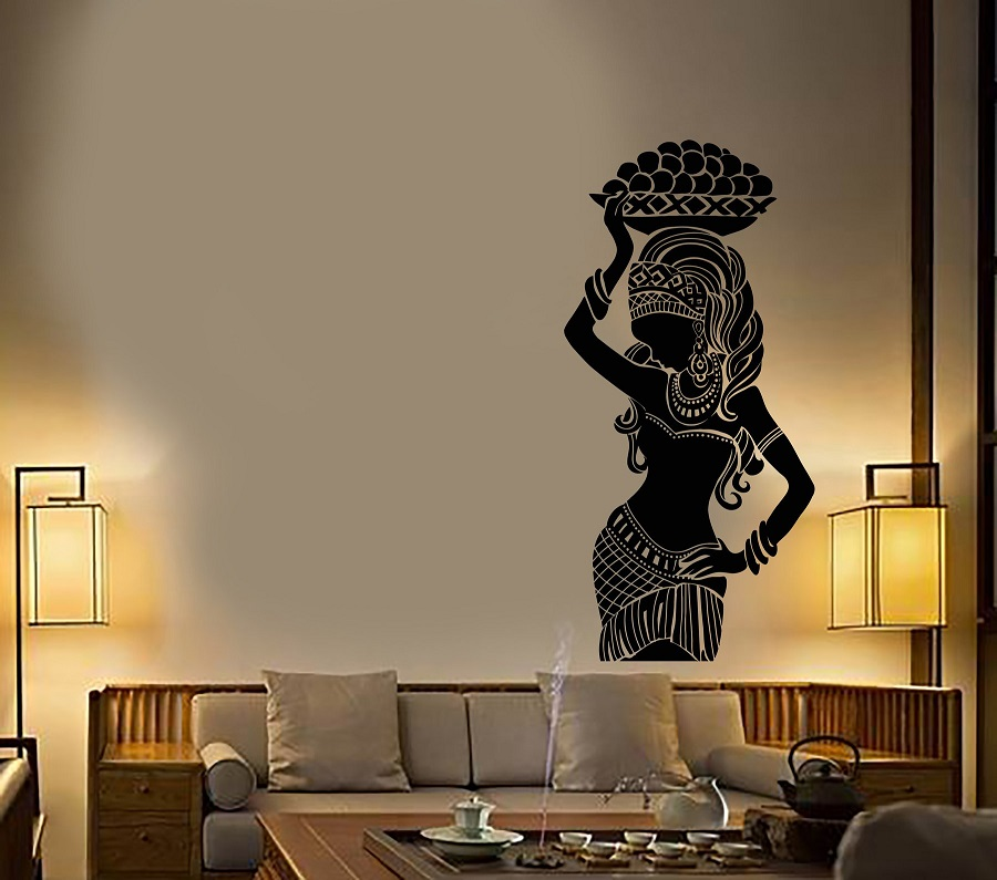 Vinyl Wall Decal African Native Girl Turban Ethnic Style Stickers