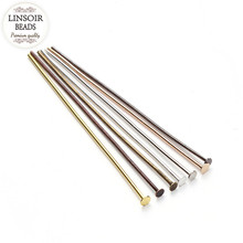 200pcs/lot Length 40 50 mm Flat Head Pins Dia 0.7mm(21gague) Antique Bronze/Gold/Silver Color Headpins for Jewelry Making F118