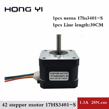 1pcs 17HS3401S Free shipping and Quality 4-lead Nema17 Stepper Motor 42 motor 42BYGH  1.3A CE ROSH ISO CNC for 3D printer