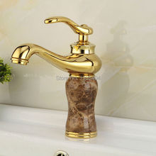 High Quality Golden Plated Bathroom Marble Stone Basin Taps Deck Mounted Hot and Cold Sink Faucet Crane M1006