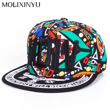 [MOLIXINYU] 2017 New Graffiti Letters Pattern Snapback Hat For Children Girls Hat Boy Caps Baby Baseball Cap Kids Hip-Hop Cap