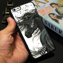 Majestic Mustang Horse Black Phone Case for iPhone 5S 5 SE 5C 4 4S 6 6S 7 Plus Cover ( TPU / Plastic for Choice )