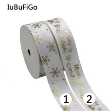 "[IuBuFiGo] 2016 New Gold Foil Christmas Ribbon Printed Grosgrain Ribbon For Home Decoration 1""(25mm) 10yard/lot"