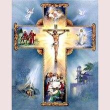 5D DIY Иисус Христос thecross стежка Полный Круглый Алмазная мозаика, алмазная вышивка алмаз живопись религия христианский крест W183(China)