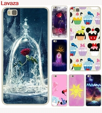Lavaza and the beast and rose image Cupcakes Hard Transparent Case for Huawei P6 7 P8 P9 P10 Lite Plus Honor 8 Lite 4C 4X G7(China)