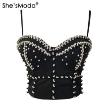 She'sModa Gorgeous Jewel Pearls Diamond Mesh Breath Push Up 2015 New Bralet Women's Bustier Bra Cropped Top Vest Plus Size