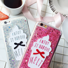 Fashion Glitter Meteor Sand Sequins Colorful Transparent Flash Ice Cream Mobile Hard Phone Cases For iphone 6 6S 7 Plus