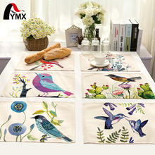 42X32CM Table Napkins Mix 7 Style Beautiful Bird Images Linen Dinner Table Napkins Tea Coffee Towel Restaurant Plates Decoration