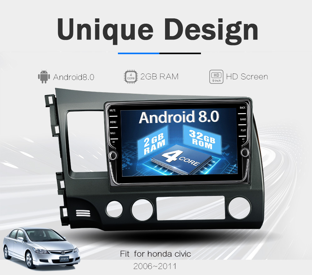 JOYING 9 inch Octa core Android 8.0 Car Radio DVD player 4G RAM 64G Stereo For Honda Civic 2012 2015 Support DVR TPMS OBD Camera