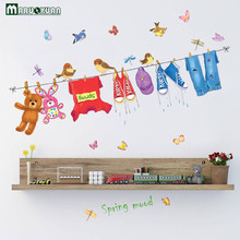 MARUOXUAN Creative Clothes Racks Children Room Stickers Bedroom Living Room Bathroom Background Decorative PVC Wall Stickers