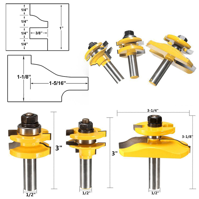 3pcs 1/2 Shank Door Panel Woodworking Cutter Tool Cabinet Router Bits Set For Woodworking Tools<br><br>Aliexpress