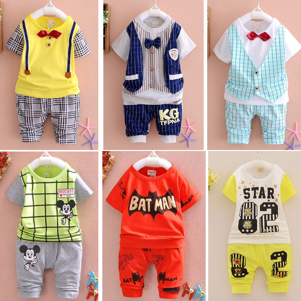 2016 New Summer  baby Sport suit 100% cotton fashion  design baby boys clothing set for 1 2 3 Years Old A095-6<br><br>Aliexpress