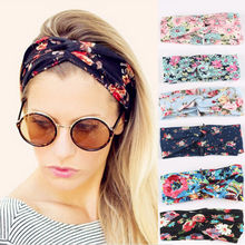 Ethnic Floral Wide Stretch Hair Band Retro Women Elastic Turban Twisted Knotted Headband Girl Hair Accessories