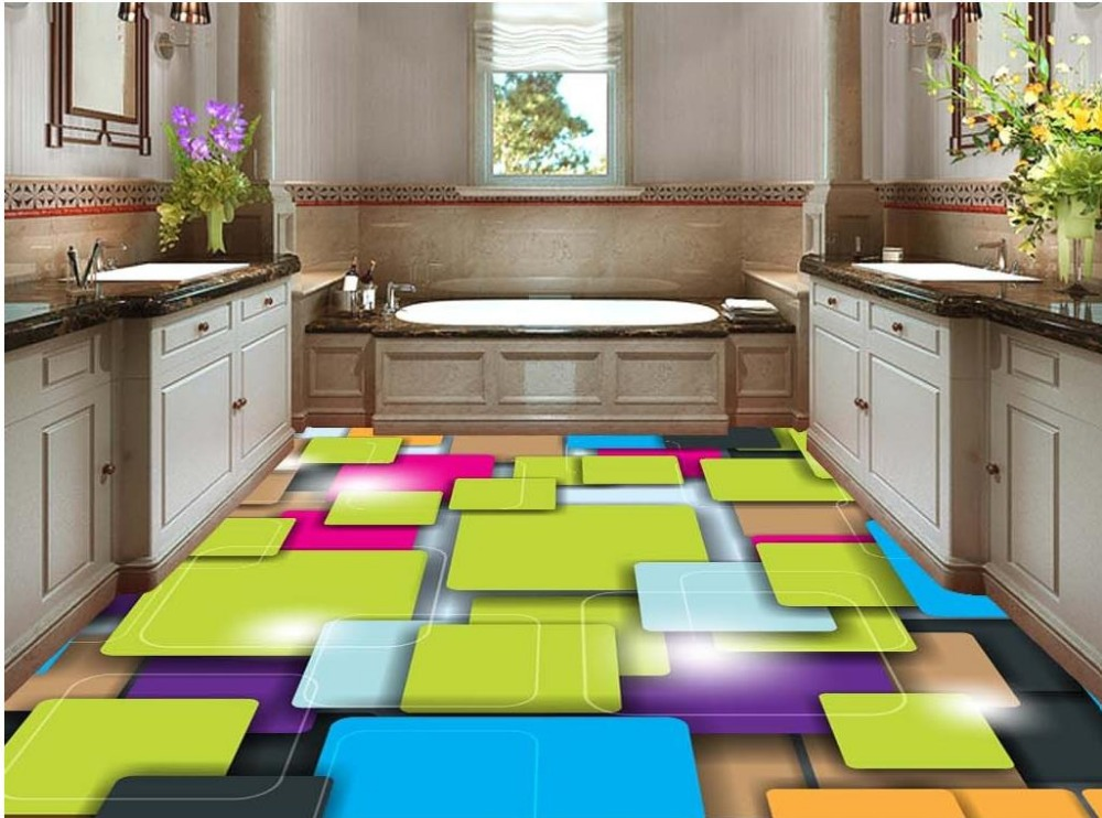 customized wallpaper for walls Home Decoration 3D color Box Abstract floor pvc wallpaper 3d bathroom floor wallpaper<br>