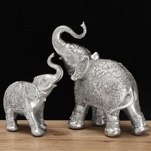 Fashion 2Pcs/set Silver Polyresin Ornate Elephant Statue Lucky Figurine Sculptures Ornaments for Home Office Decor Crafts Gift(China)