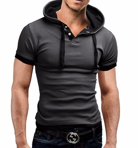 HTB1FBRxLVXXXXb9aXXXq6xXFXXXK - Men'S T Shirt 2017 Summer Fashion Hooded Sling Short-Sleeved Tees Male Camisa Masculina T-Shirt Slim Male Tops 4XL