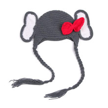 Baby Girl Hat Toddler Elephant Knit Crochet Winter Hat Bowknot Beanie Cap for 0-6months Chapeu Feminino #7919(China)