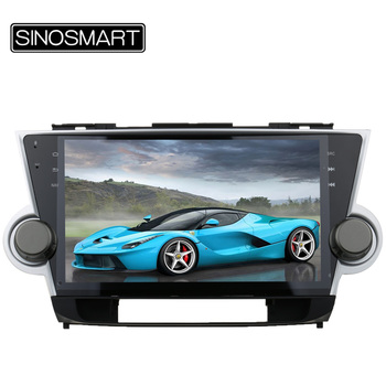 Sinosmart 10.2 ''6 ghz quad core ram 1g android 4.4 navegación del coche dvd gps para toyota highlander 2008-2012 sin canbus