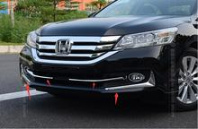 4 pcs ! For Honda Accord 2013 2014 2015 Front Bottom Grill Cover + Fog Lamp Eyebrow Cover Trim(China)