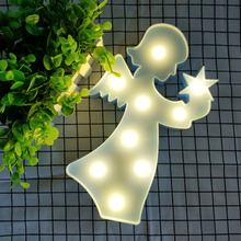 Foxanon 3D Angel LED Letter Night light table lighting Wall Lamp Bedroom Bookcase Home Decoration wedding indoor child Kid Gift(China)