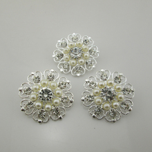 (BT71 33mm)10pcs Charming Butterfly Metal Pearl Button Shank Rhinestone Button For Baby Hair Accessory