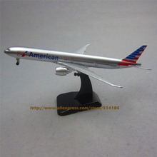 FANNIYA 19cm Metal Plane Model Air American Airlines B777 300ER Airplane Model Boeing 777 Airways Aircraft w Stand Wheels  Gift