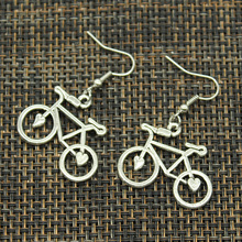 New Fashion Handmade bike bicycle school bus car Pendants Silver Earrings For Womens Style(China)