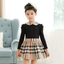 New style Girls plaid long-sleeve cottom dress kids classical autumn spring plaid dress with sashes Children clothing sets